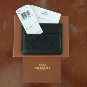 Coach Black Leather Card Wallet